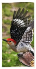 Bath Towel featuring the photograph Red Bellied Woodpecker Take Off by Terry DeLuco