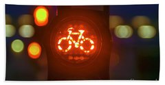 Red Bicycle Traffic Light Hand Towel