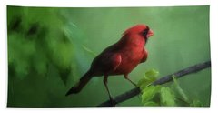 Red Bird On A Hot Day Bath Towel by Lois Bryan