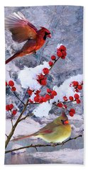 Red Birds Of Christmas Hand Towel