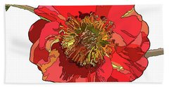 Red Blossom Bath Towel