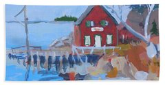 Red Boat House Hand Towel by Francine Frank