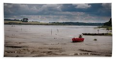 Red Boat On The Mud Bath Towel