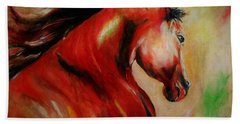 Red Breed Hand Towel by Khalid Saeed