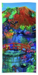 Red Bridge Dreamscape Bath Towel by Jeanette French