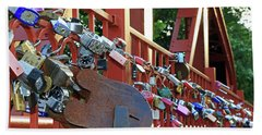 Hand Towel featuring the photograph Red Bridge Locks by Christopher McKenzie