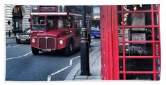 Red Bus In London  Hand Towel