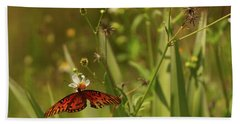 Red Butterfly In Daisy Field Hand Towel