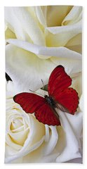 Red Butterfly On White Roses Bath Towel