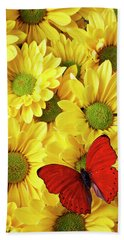 Red Butterfly On Yellow Mums Bath Towel