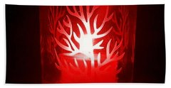 Red Candle Light Bath Towel