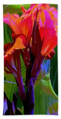 Hand Towel featuring the photograph Red Canna Fire by M Diane Bonaparte