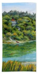 Red Canoe Bath Towel by William Reed