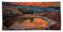 Red Canyon Reflection Bath Towel