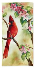Red Cardinal And Blossoms Hand Towel