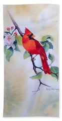 Red Cardinal  Bath Towel