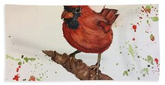 Hand Towel featuring the painting Red Cardinal by Lucia Grilletto
