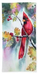 Red Cardinal With Berries Hand Towel