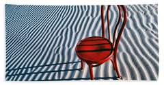 Red Chair In Sand Hand Towel