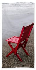 Red Chair On The Beach Hand Towel