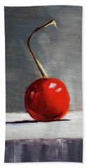 Bath Towel featuring the painting Red Cherry by Nancy Merkle