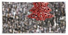 Red Christmas Tree Bath Towel by Ulrich Schade