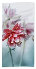 Red Columbines Bath Towel