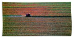 Red Combine Harvesting  Mchenry Aerial Bath Towel