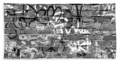 Red Construction Brick Wall And Spray Can Art Signatures Bath Towel