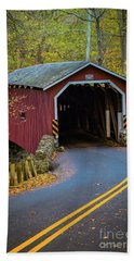 Red Covered Bridge In Lancaster County Park Hand Towel