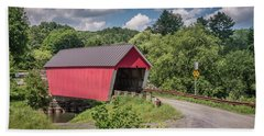 Red Covered Bridge Hand Towel