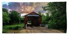 Red Covers Bridge With Pretty Sky  Bath Towel