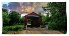 Red Coverd Bridge With Pretty Sky  Hand Towel