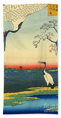 Red Crowned Cranes 1857 Bath Towel by Padre Art