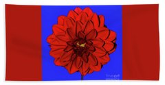 Red Dahlia On Blue By Kaye Menner Hand Towel by Kaye Menner