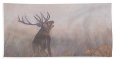Bath Towel featuring the painting Red Deer Stag Early Morning by David Stribbling