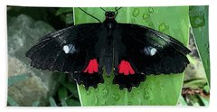 Red Design On Wings Hand Towel