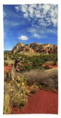 Red Dirt And Cactus In Sedona Bath Towel by James Eddy