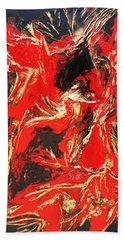 Red Distressed Hand Towel