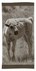 Bath Towel featuring the photograph Red Dog Buffalo Calf by Rebecca Margraf