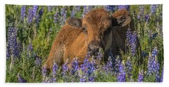 Red Dog In Bed Of Lupine Hand Towel by Yeates Photography