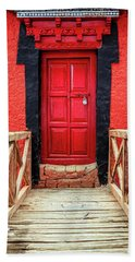 Bath Towel featuring the photograph Red Door At A Monastery by Alexey Stiop