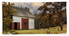 Hand Towel featuring the photograph Red Door Farm by Robin-Lee Vieira