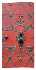 Hand Towel featuring the photograph Red Door In Prague - Czech Republic by Melanie Alexandra Price