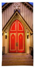 Hand Towel featuring the photograph Red Doors by Allin Sorenson