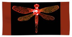 Red Dragonfly Bath Towel