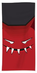 Red Evil Monster With Pointy Ears Hand Towel