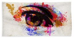 Red Eye Watercolor Bath Towel