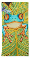 Red Eyed Tree Frog And Dragonfly Hand Towel