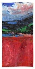 Red Field Landscape Bath Towel